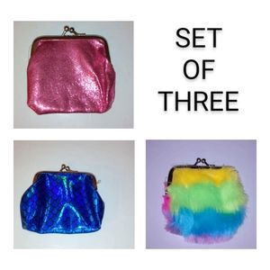 Set of 3 NWT Coin Purses -- Blue, Pink, Rainbow